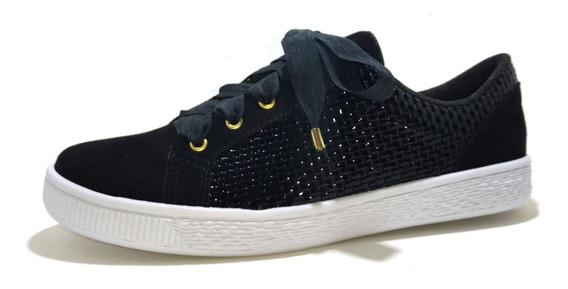 Tenis Sneaker Felipe Rentería Suede-charol Negro 23-29mx