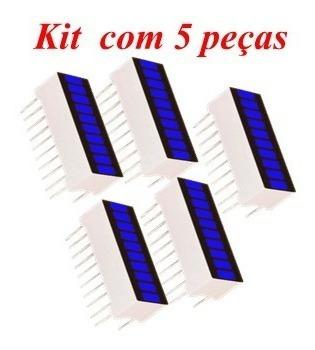 Barra Gráfica Led Azul Brilhante Kit Com 5 Peças