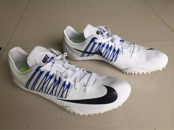 Zapatillas De Atletismo C/clavos. Blanca Y Azul