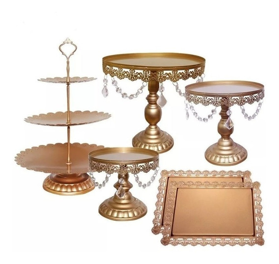 Set 6 Bases Decorativas Para Pastel Cupcakes Dorados