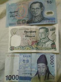 3 Billetes Dos Tailandeses Y Uno Sur Coreano En Buen Estado
