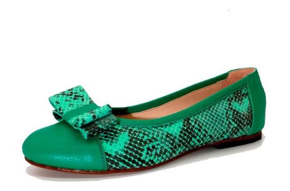 Zapatos Mujer Balerinas Chatitas Bajas Cuero Verde Leblu 859