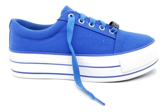 Tenis Feminino Casual Plataforma Capricho Azul Canvas