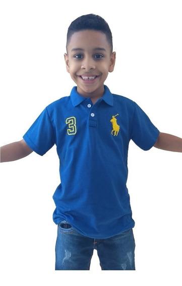 Kit 3 Polo Infantil Masculina Camisa De Gola Menino