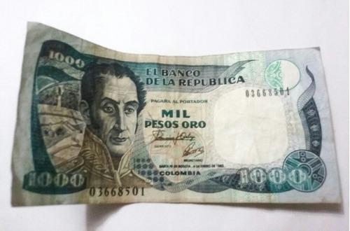 Imagen 1 de 2 de Billete 1000 Pesos Oro 4 De Enero De 1993