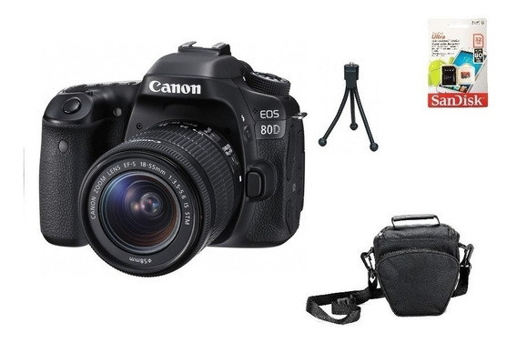 Canon 80d 18-55mm Aps-c 24.2mp Wifi 32gb Bolsa Tripé Novo