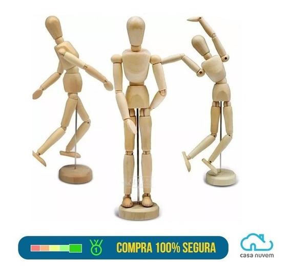 Boneco Articulado Manequim Madeira 20 Cm Desenho Modelagem