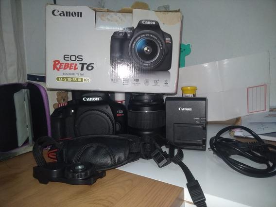 Camera Canon T6 Na Caixa Com Acessórios E Tripe, Super Nova.