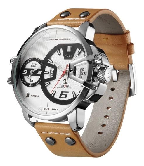 Relógio Masculino Luxo Original Couro Weide 100% Funcional