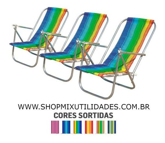 Cadeira De Praia 4 Posições De Aluminio