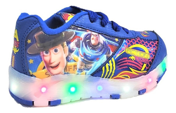 Tenis Niño Luces Led Toy Story Azul Marino Buzz Woody