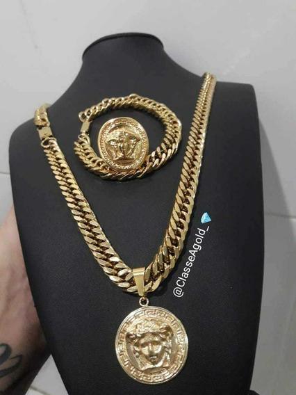 Kit Corrente Banhada Ouro18k+pulseira + Anel Pingente Medus