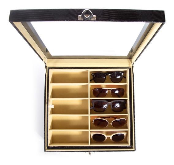 Estojo Para 20 Óculos Couro Ecológico Caixa Expositora Organizador Closet - Diversas Cores
