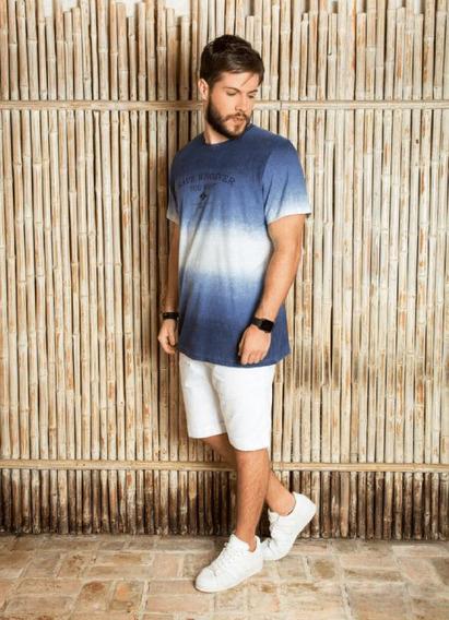 Camiseta Longa Azul Surf.com Estampada Estonada Save Whoever
