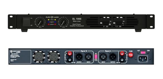 Amplificador 1000w Rms Slim Potência Audio Leader Sl1000