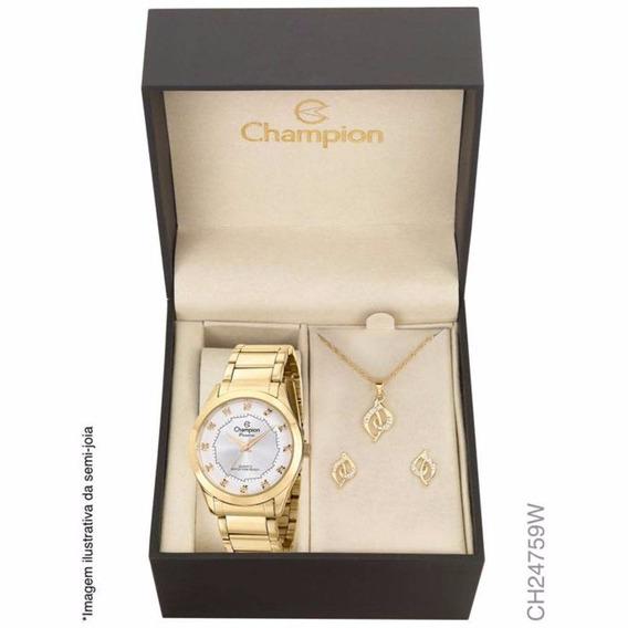 Kit Relógio Champion Dourado Passion Analógico Ch24759w