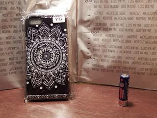 Protector Negro Case Silicona iPhone 7 Mandala