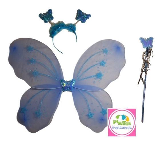 Set Alas Mariposas Varita Vincha Varios Colores