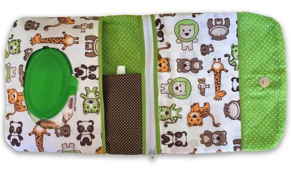 Porta Fralda Lenço Umedecido Pomada Bebê Safari