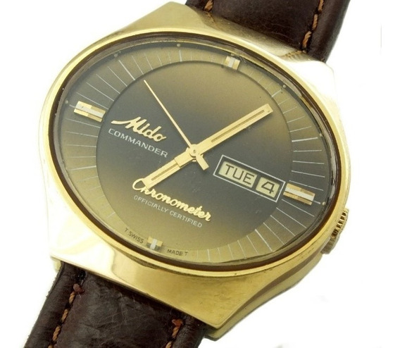 Relógio De Pulso Mido Chronometer Em Ouro 18k Maciço J10844