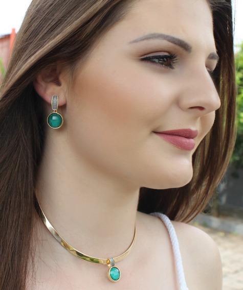 Conjuntos De Esmeralda Em Folheado A Ouro