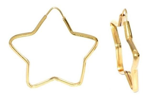 Brinco Em Ouro 18k Argola Estrela