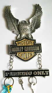 Harley Davidson Emblema Porta Llaves Parkig Only Aluminio