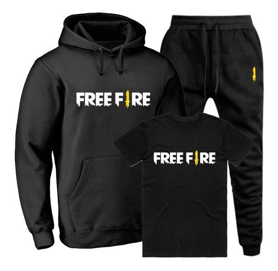 Moletom Masculino Free Fire Blusa De Frio + Calça + Camiseta