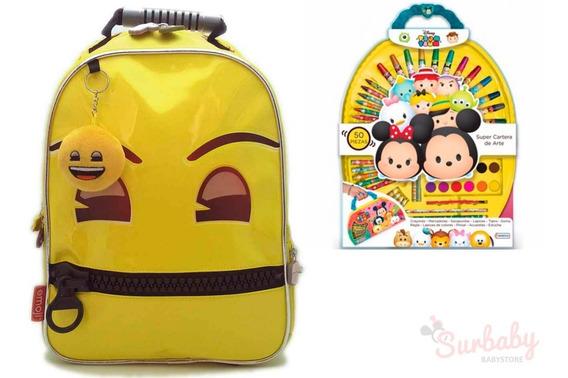 Mochila De Espalda Emoji 14 Tt801 + Set De Arte Tsum Tsum