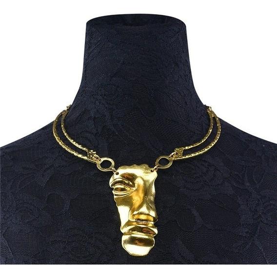 Collar Dorado Diseño Rostro