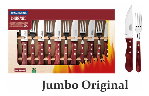 Faqueiro Churrasco Jumbo Tramontina 12 Pç Polywood Vermelho
