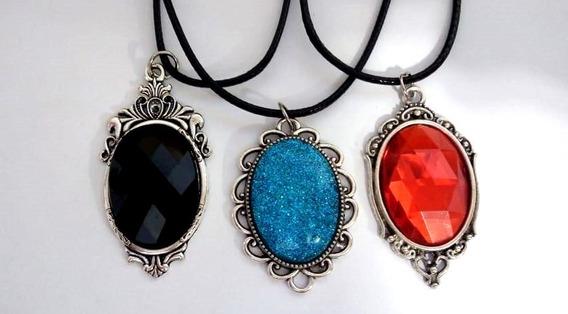 Colar Dark Gótico Azul, Vermelho, Preto Gótico