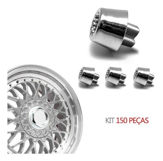 Kit 150 Rebite N 1 Pino Roda Estriado Cônico Cromado Bbs Brw