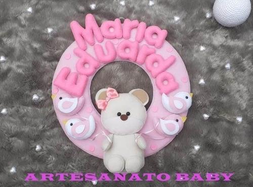 Porta Maternidade Guirlanda Rosa/azul C/ Ursinha Para Bebês
