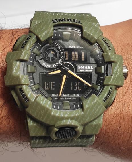 Relógio Masculino Smael Shock Esportivo Militar Verde Musgo