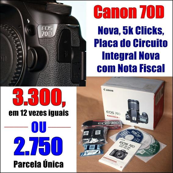 Canon Eos 70d ( 5 K ) Nova De Corpo E Alma Com Nota Fiscal