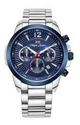 Relógio Masculino Cronógrafo Prata E Azul Pl80033633m