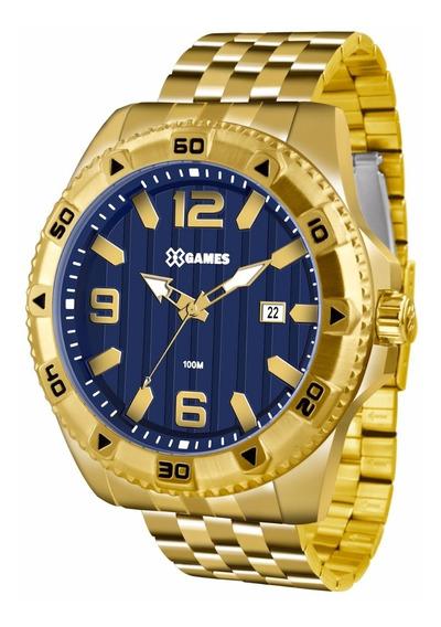 Relógio X-games Masculino Xmgs1025 D2kx Dourado Azul Oferta