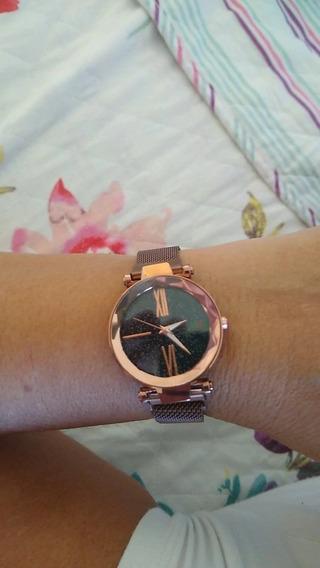 Relógio Rose Gold Pulseira Magnética Céu Estrelado