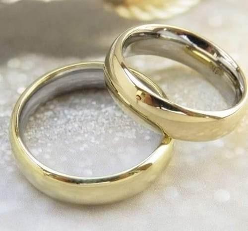 Par Aliança Aço Revestida Em Ouro 18k 3mm Casamento