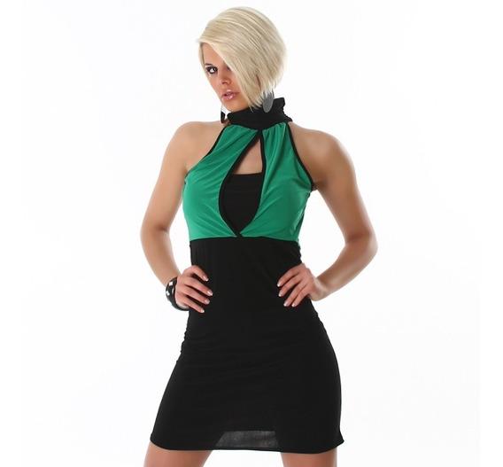 Sexy Vestido En Jersey Negro Y Verde!! Talle M