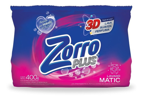 Detergente Polvo Zorro Clásico Be 400g