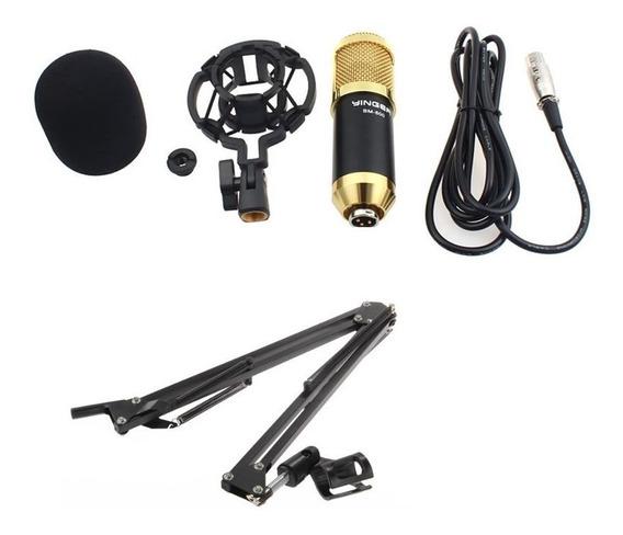 Kit Microfone Condensador Bm800 Pedestal Suporte Articulado