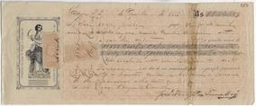 Brasil 1883 Promissória Com 2x Selo Fiscal D. Pedro Ii