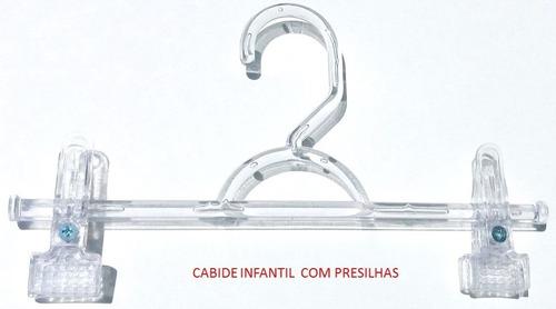 Cabides Acrílico Infantil Com Grampo 24,5 Cm Caixa Com 25 Un