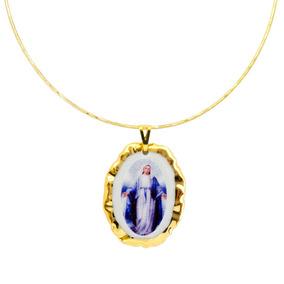 Medalha Nossa Senhora Graças Ouro Azul E Gargantilha