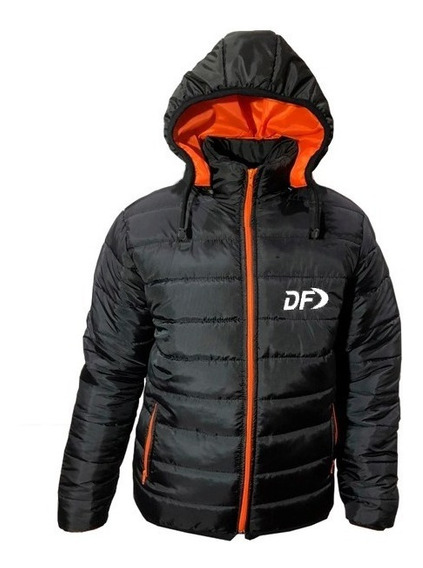 Campera Inflable Hombre Df Capucha Desmontable Negro Naranja
