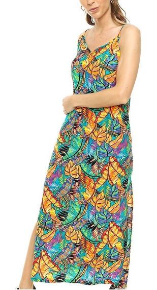 Vestido De Fibrana Largo Estampado Floreado Art. N° 50719