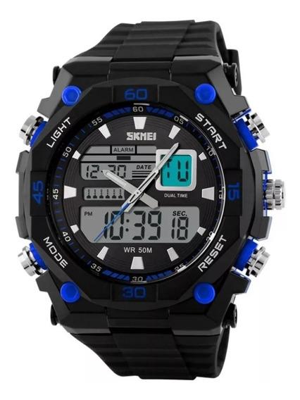 Relógio Skmei Anadigi 1092 Preto E Azul Original Com Estojo