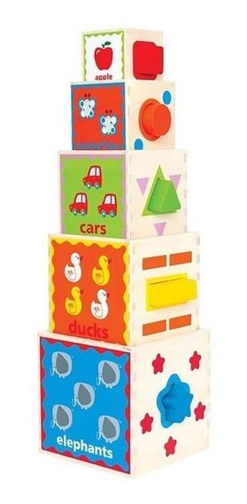 Juego Didactico Juguete Piramide Apilable Hape Cubo 1/3 Años